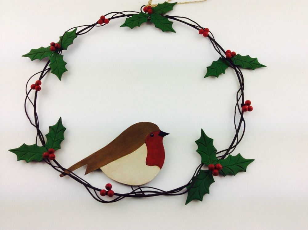 Metal Holly Wreath With Robin 37cm